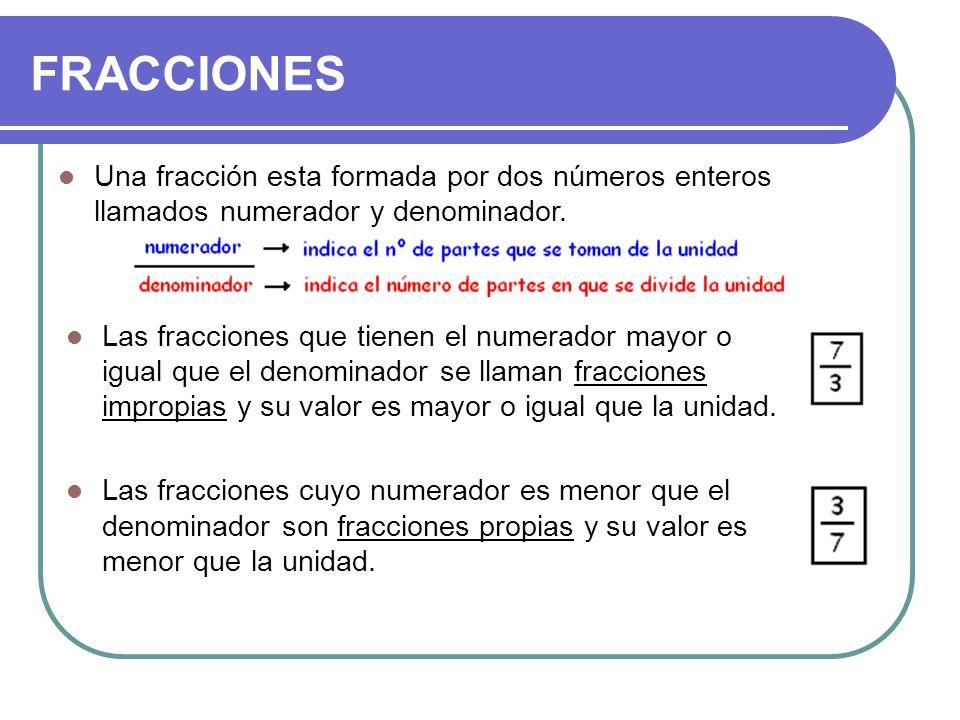 FRACCIONES Una fracción esta formada por dos números enteros llamados numerador y denominador. Las fracciones que tienen el numerador mayor o igual qu