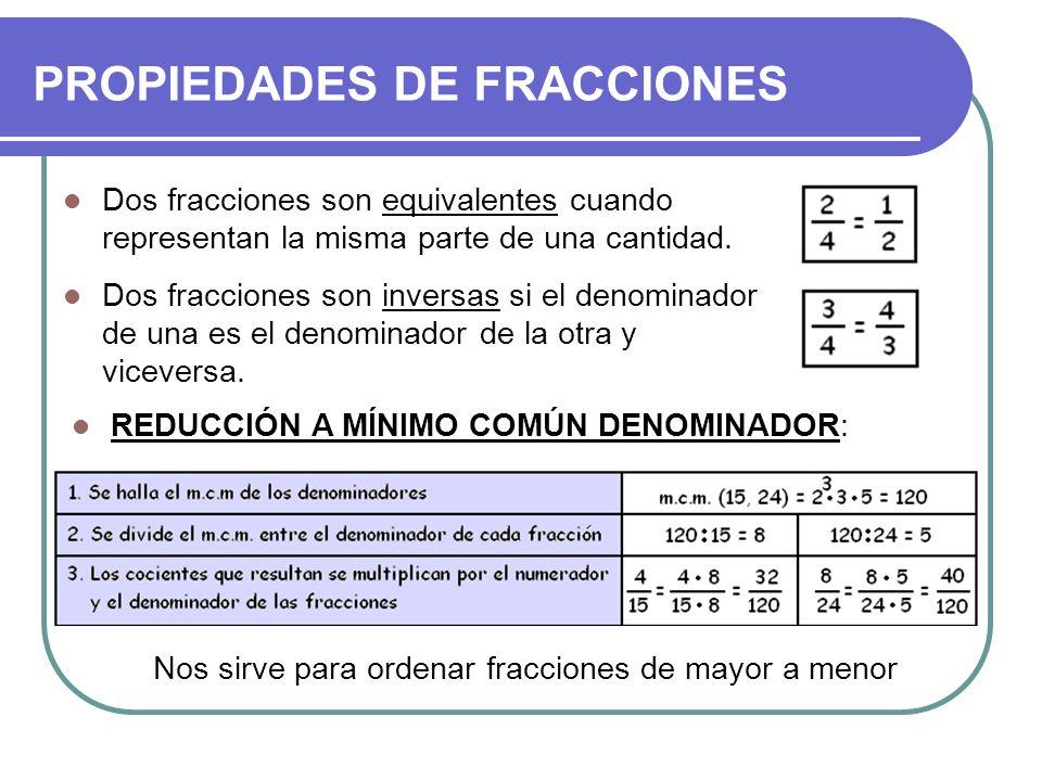 PROPIEDADES DE FRACCIONES Dos fracciones son equivalentes cuando representan la misma parte de una cantidad. Dos fracciones son inversas si el denomin