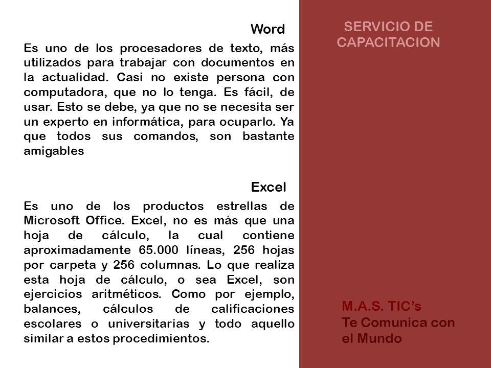 SERVICIO DE CAPACITACION Word Es uno de los procesadores de texto, más utilizados para trabajar con documentos en la actualidad.