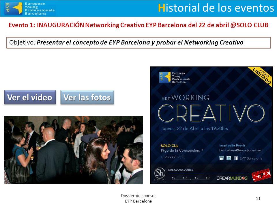 Historial de los eventos Evento 1: INAUGURACIÓN Networking Creativo EYP Barcelona del 22 de abril @SOLO CLUB 11 Dossier de sponsor EYP Barcelona Ver e