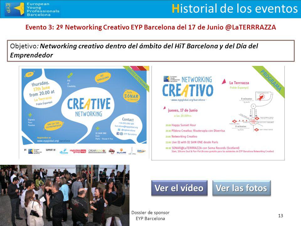 Historial de los eventos Evento 3: 2º Networking Creativo EYP Barcelona del 17 de Junio @LaTERRRAZZA 13 Dossier de sponsor EYP Barcelona Ver el vídeo