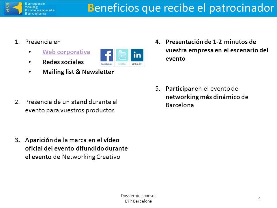 Beneficios que recibe el patrocinador 4 Dossier de sponsor EYP Barcelona 1.Presencia en Web corporativa Redes sociales Mailing list & Newsletter 2.Pre