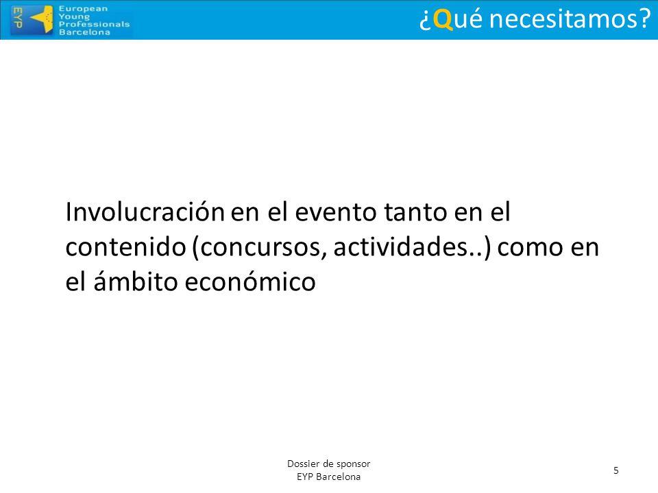 ¿Qué necesitamos? 5 Dossier de sponsor EYP Barcelona Involucración en el evento tanto en el contenido (concursos, actividades..) como en el ámbito eco