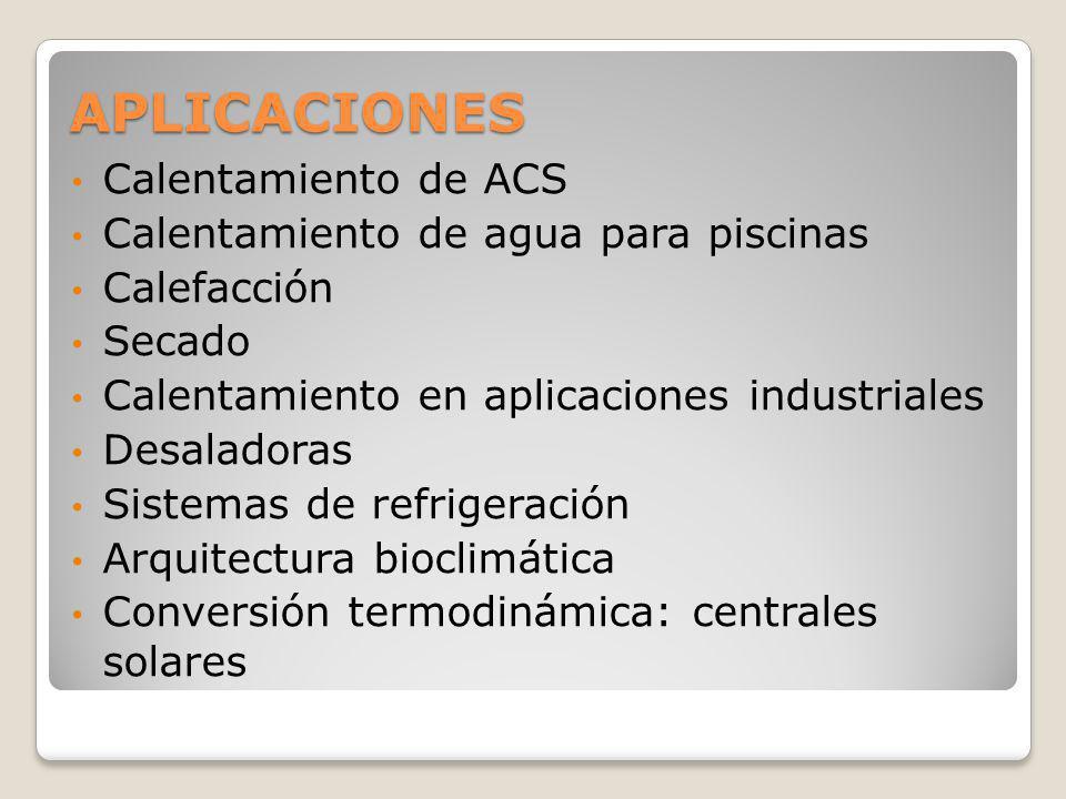 APLICACIONES Calentamiento de ACS Calentamiento de agua para piscinas Calefacción Secado Calentamiento en aplicaciones industriales Desaladoras Sistem