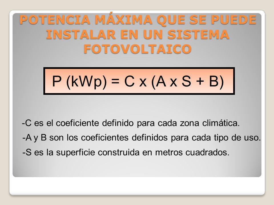 P (kWp) = C x (A x S + B) -C es el coeficiente definido para cada zona climática. -A y B son los coeficientes definidos para cada tipo de uso. -S es l