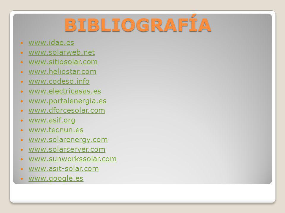 BIBLIOGRAFÍA www.idae.es www.solarweb.net www.sitiosolar.com www.heliostar.com www.codeso.info www.electricasas.es www.portalenergia.es www.dforcesola