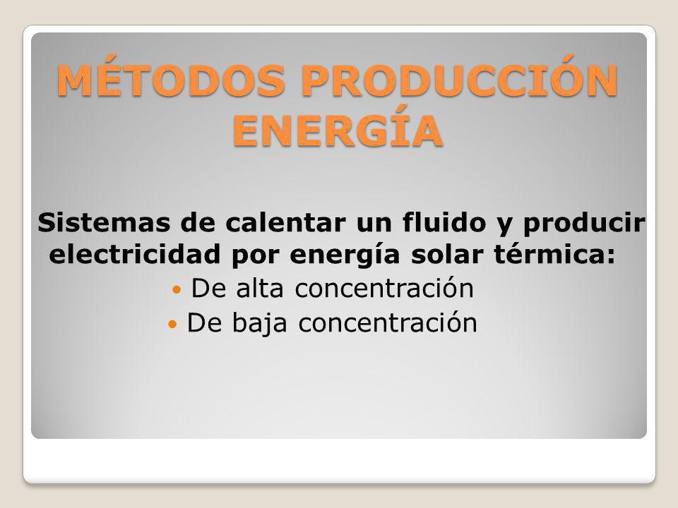MÉTODOS PRODUCCIÓN ENERGÍA Sistemas de calentar un fluido y producir electricidad por energía solar térmica: De alta concentración De baja concentraci