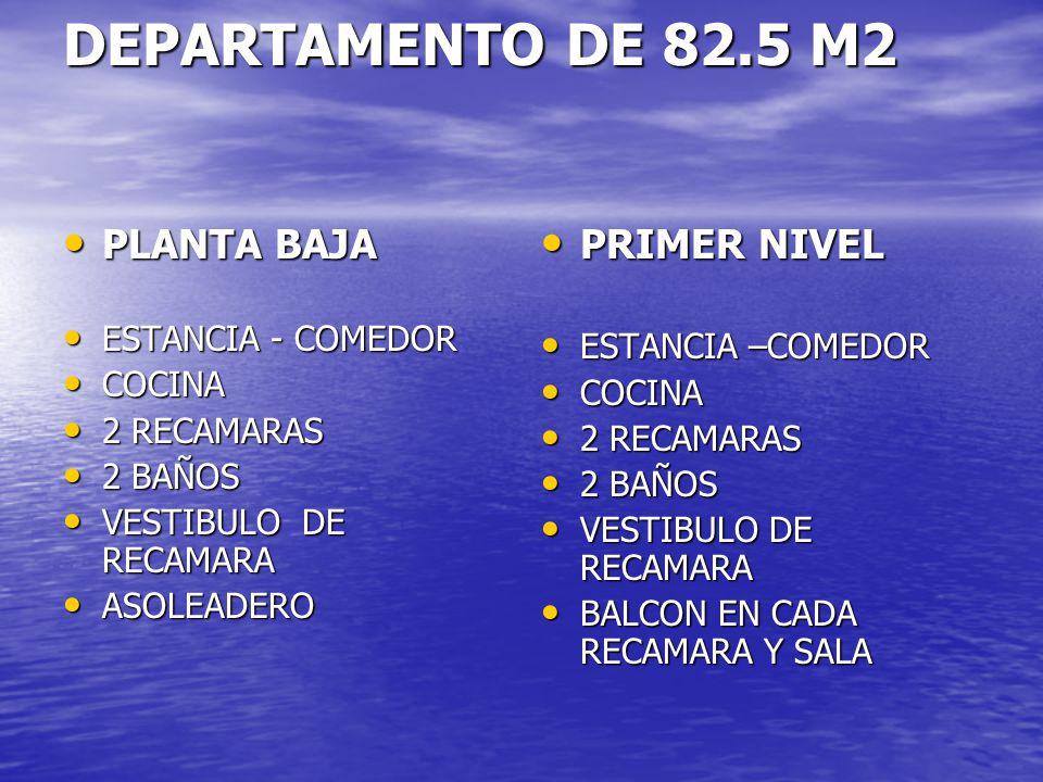 DEPARTAMENTO DE 82.5 M2 PLANTA BAJA PLANTA BAJA ESTANCIA - COMEDOR ESTANCIA - COMEDOR COCINA COCINA 2 RECAMARAS 2 RECAMARAS 2 BAÑOS 2 BAÑOS VESTIBULO
