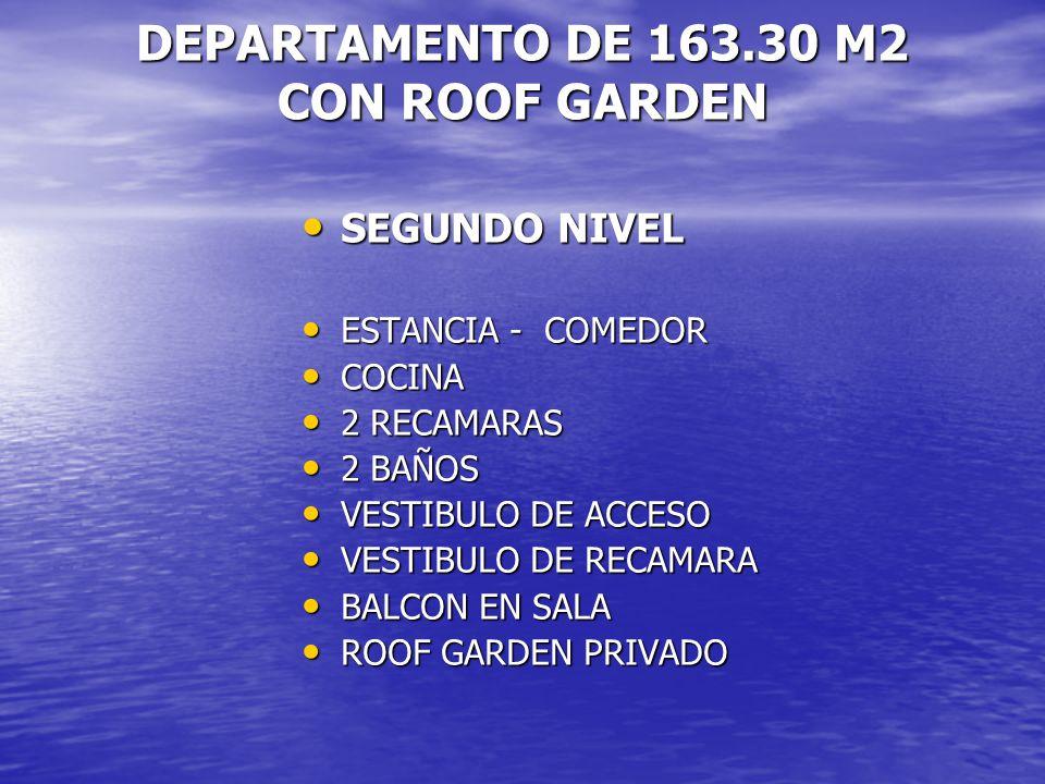 DEPARTAMENTO DE 163.30 M2 CON ROOF GARDEN SEGUNDO NIVEL SEGUNDO NIVEL ESTANCIA - COMEDOR ESTANCIA - COMEDOR COCINA COCINA 2 RECAMARAS 2 RECAMARAS 2 BA