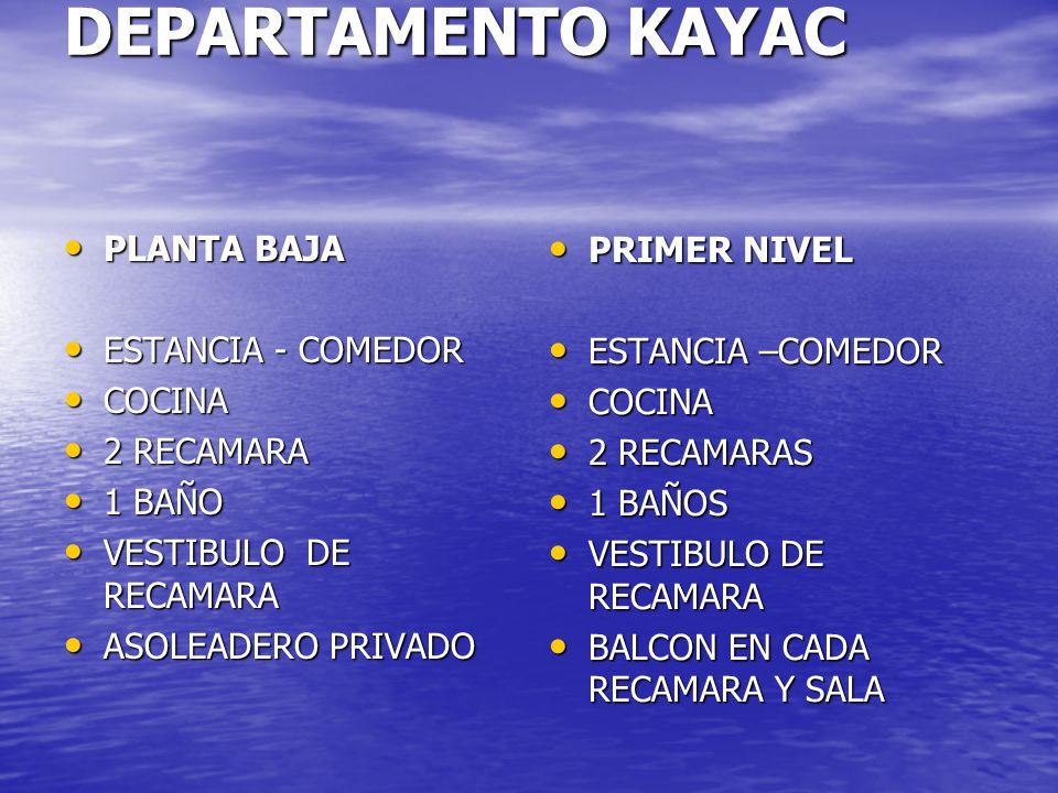DEPARTAMENTO KAYAC PLANTA BAJA PLANTA BAJA ESTANCIA - COMEDOR ESTANCIA - COMEDOR COCINA COCINA 2 RECAMARA 2 RECAMARA 1 BAÑO 1 BAÑO VESTIBULO DE RECAMARA VESTIBULO DE RECAMARA ASOLEADERO PRIVADO ASOLEADERO PRIVADO PRIMER NIVEL PRIMER NIVEL ESTANCIA –COMEDOR ESTANCIA –COMEDOR COCINA COCINA 2 RECAMARAS 2 RECAMARAS 1 BAÑOS 1 BAÑOS VESTIBULO DE RECAMARA VESTIBULO DE RECAMARA BALCON EN CADA RECAMARA Y SALA BALCON EN CADA RECAMARA Y SALA