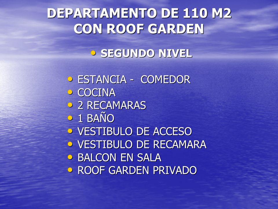 DEPARTAMENTO DE 110 M2 CON ROOF GARDEN SEGUNDO NIVEL SEGUNDO NIVEL ESTANCIA - COMEDOR ESTANCIA - COMEDOR COCINA COCINA 2 RECAMARAS 2 RECAMARAS 1 BAÑO