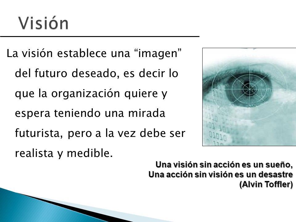 La visión establece una imagen del futuro deseado, es decir lo que la organización quiere y espera teniendo una mirada futurista, pero a la vez debe ser realista y medible.