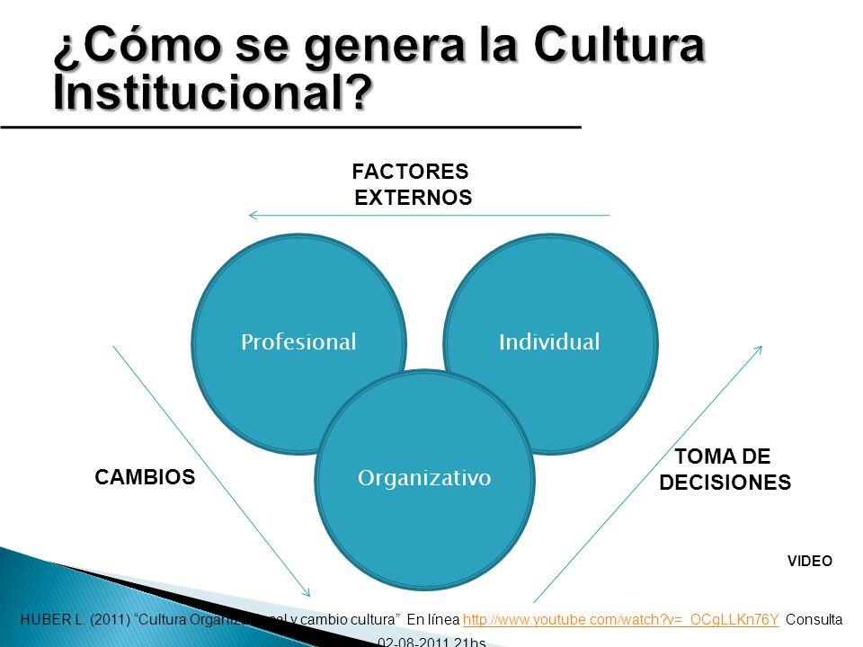 ProfesionalIndividual Organizativo TOMA DE DECISIONES FACTORES EXTERNOS CAMBIOS HUBER L. (2011) Cultura Organizacional y cambio cultura En línea http: