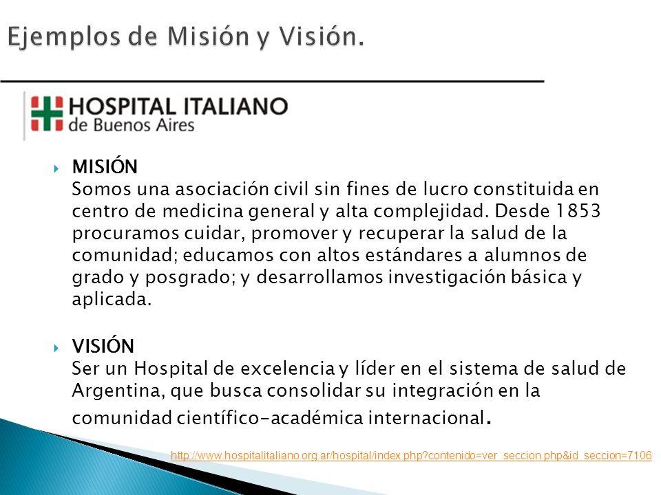 MISIÓN Somos una asociación civil sin fines de lucro constituida en centro de medicina general y alta complejidad.