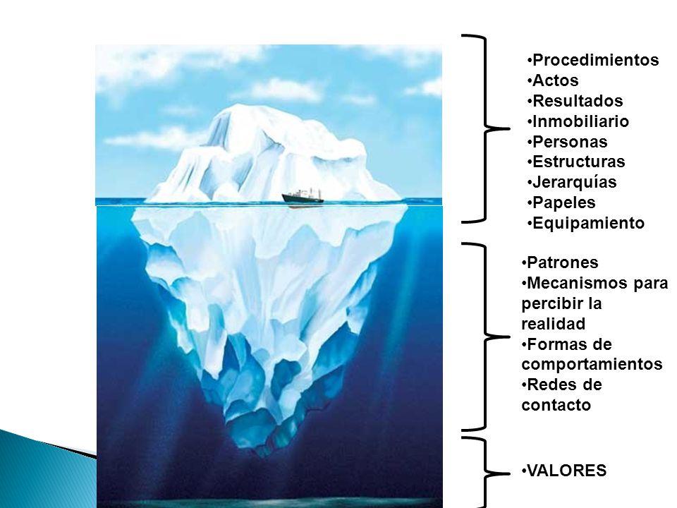 Procedimientos Actos Resultados Inmobiliario Personas Estructuras Jerarquías Papeles Equipamiento Patrones Mecanismos para percibir la realidad Formas de comportamientos Redes de contacto VALORES