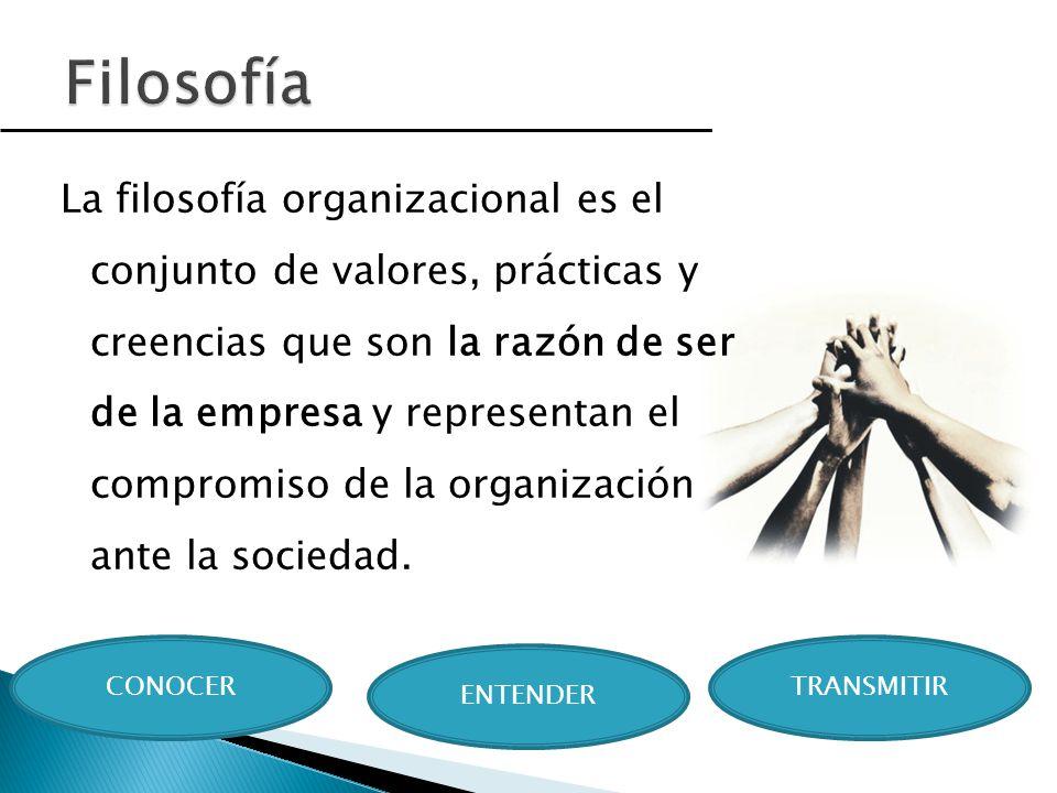 La filosofía organizacional es el conjunto de valores, prácticas y creencias que son la razón de ser de la empresa y representan el compromiso de la o