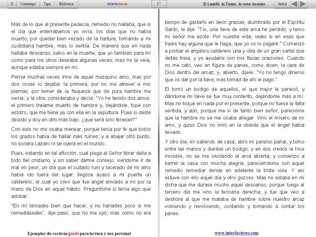 Indice 17 Tapa Contratapa Biblioteca X X interlectores www.interlectores.com El Lazarillo de Tormes de Autor Anonimo Ejemplar de cortesía gratis para