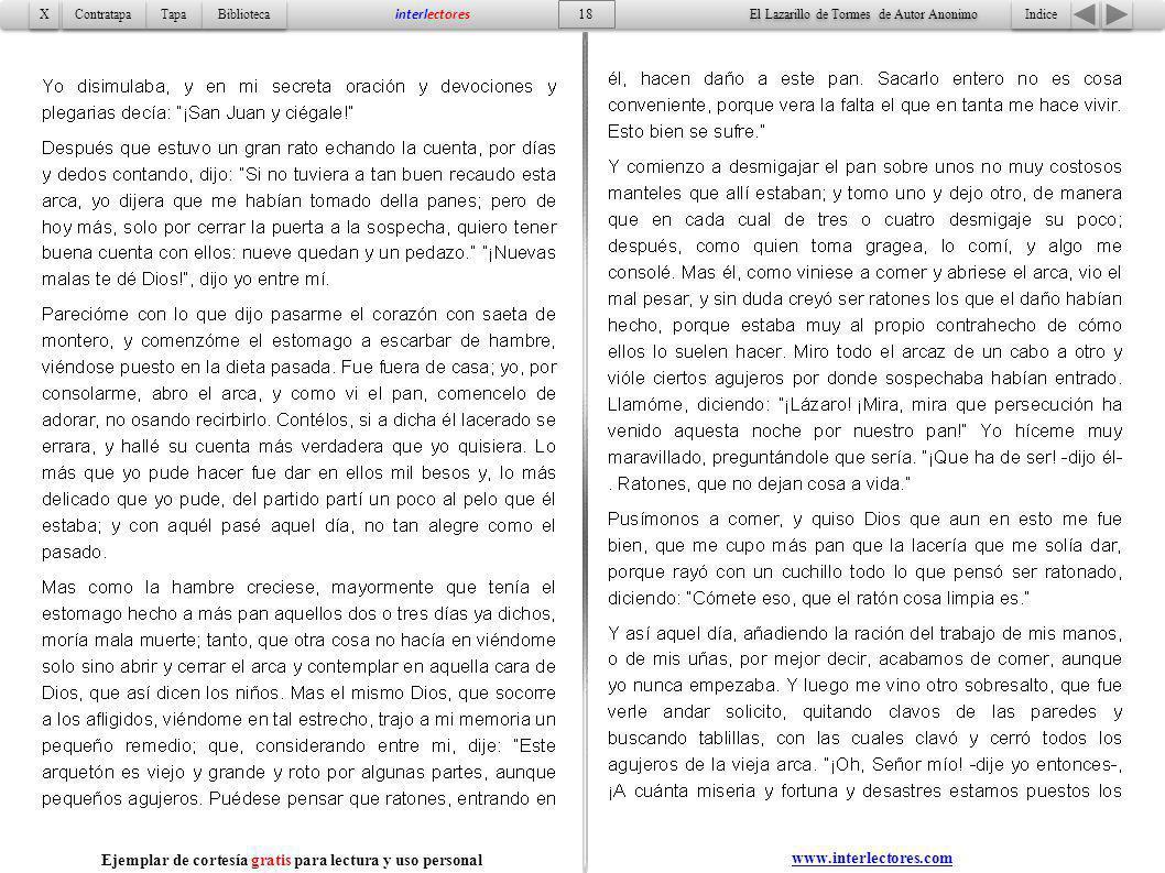 Indice 18 Tapa Contratapa Biblioteca X X interlectores www.interlectores.com El Lazarillo de Tormes de Autor Anonimo Ejemplar de cortesía gratis para