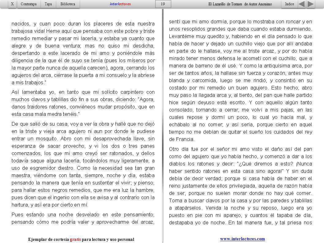 Indice 19 Tapa Contratapa Biblioteca X X interlectores www.interlectores.com El Lazarillo de Tormes de Autor Anonimo Ejemplar de cortesía gratis para