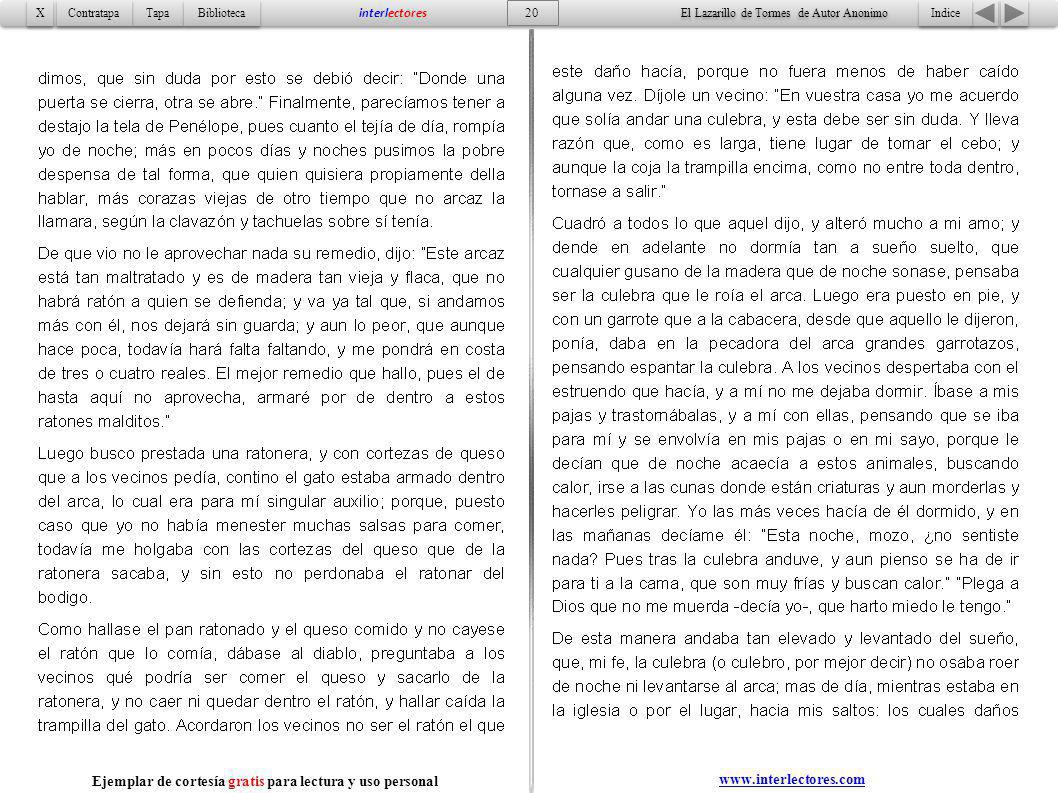 Indice 20 Tapa Contratapa Biblioteca X X interlectores www.interlectores.com El Lazarillo de Tormes de Autor Anonimo Ejemplar de cortesía gratis para