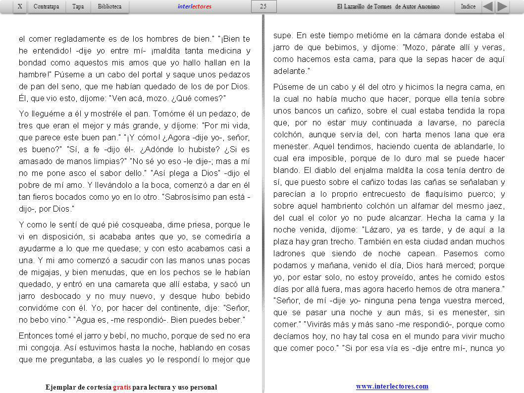 Indice 25 Tapa Contratapa Biblioteca X X interlectores www.interlectores.com El Lazarillo de Tormes de Autor Anonimo Ejemplar de cortesía gratis para