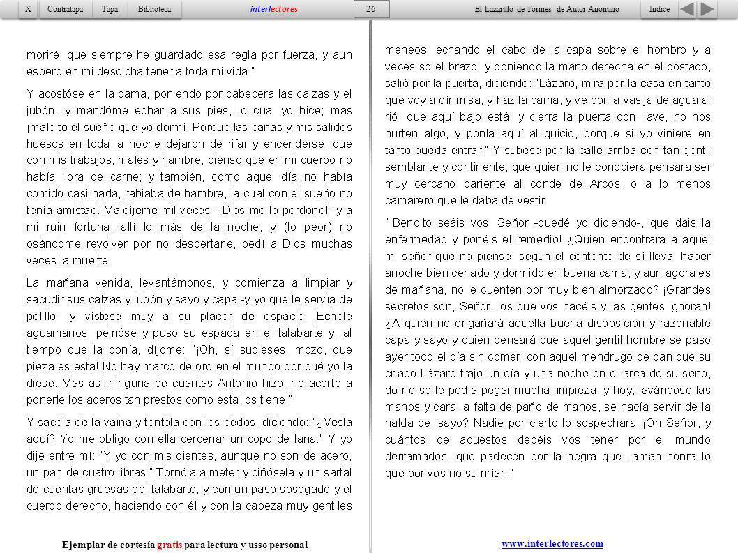 Indice 26 Tapa Contratapa Biblioteca X X interlectores El Lazarillo de Tormes de Autor Anonimo Ejemplar de cortesía gratis para lectura y usso persona