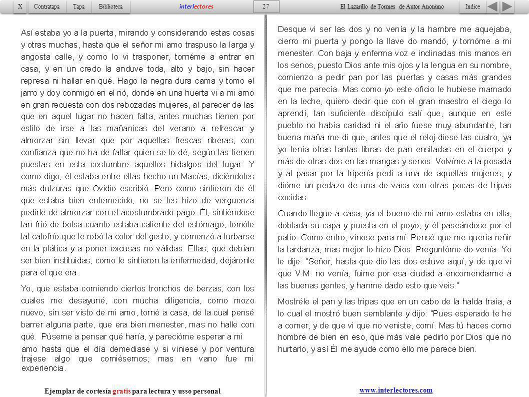 Indice 27 Tapa Contratapa Biblioteca X X interlectores El Lazarillo de Tormes de Autor Anonimo Ejemplar de cortesía gratis para lectura y usso persona