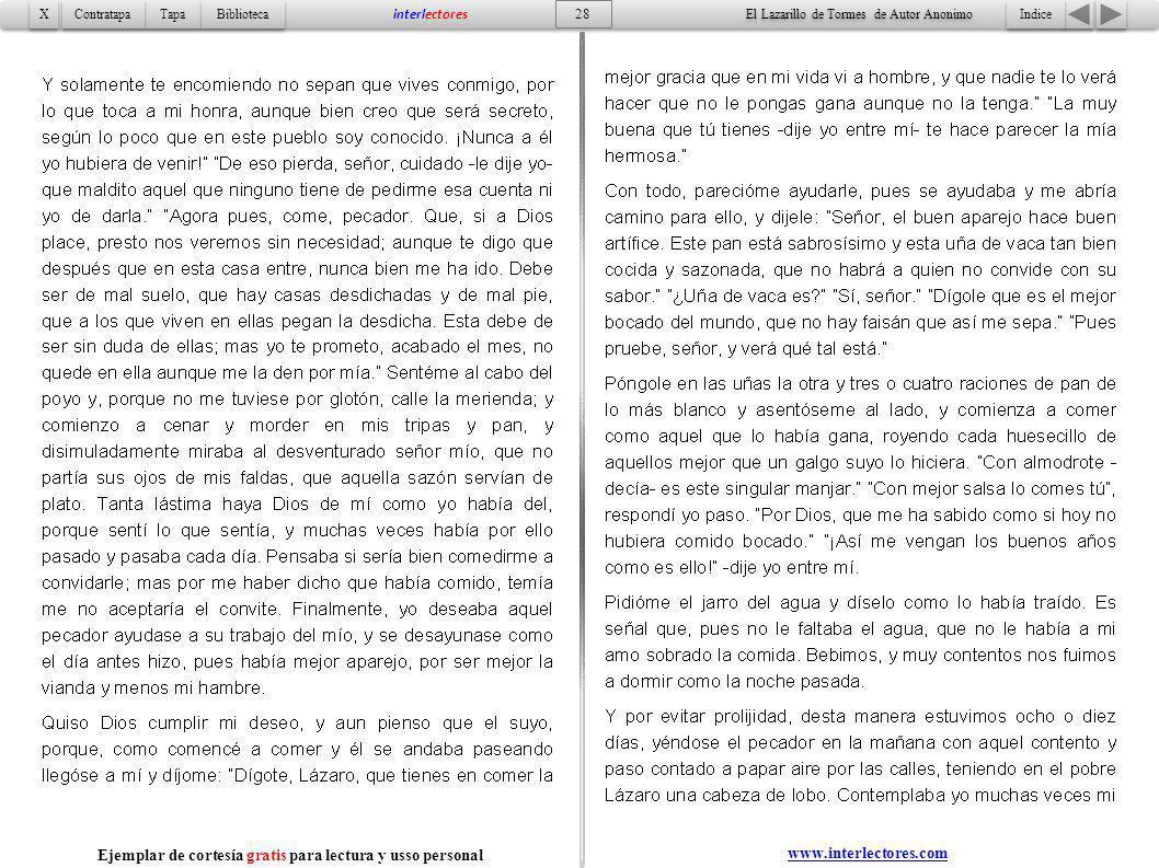 Indice 28 Tapa Contratapa Biblioteca X X interlectores El Lazarillo de Tormes de Autor Anonimo Ejemplar de cortesía gratis para lectura y usso persona