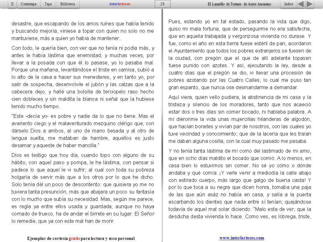 Indice 29 Tapa Contratapa Biblioteca X X interlectores El Lazarillo de Tormes de Autor Anonimo Ejemplar de cortesía gratis para lectura y usso persona