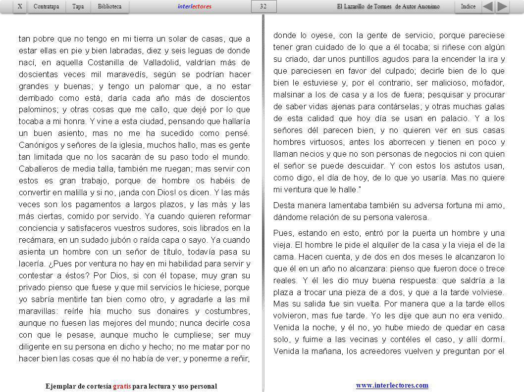 Indice 32 Tapa Contratapa Biblioteca X X interlectores www.interlectores.com El Lazarillo de Tormes de Autor Anonimo Ejemplar de cortesía gratis para