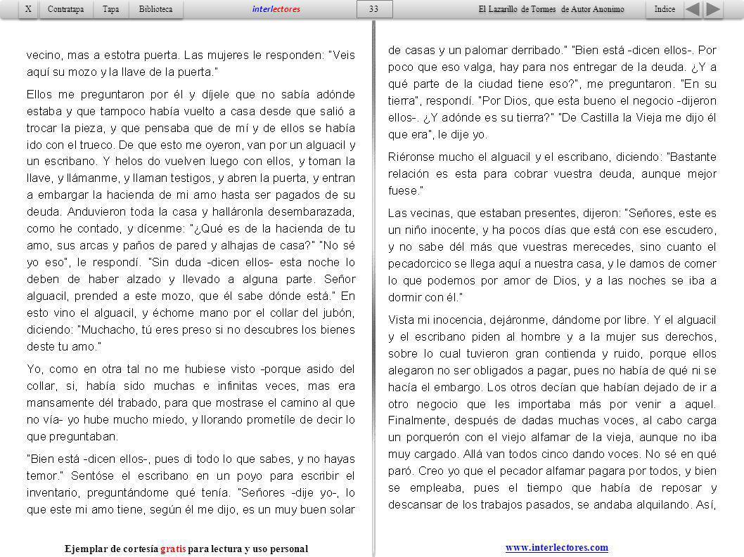 Indice 33 Tapa Contratapa Biblioteca X X interlectores www.interlectores.com El Lazarillo de Tormes de Autor Anonimo Ejemplar de cortesía gratis para