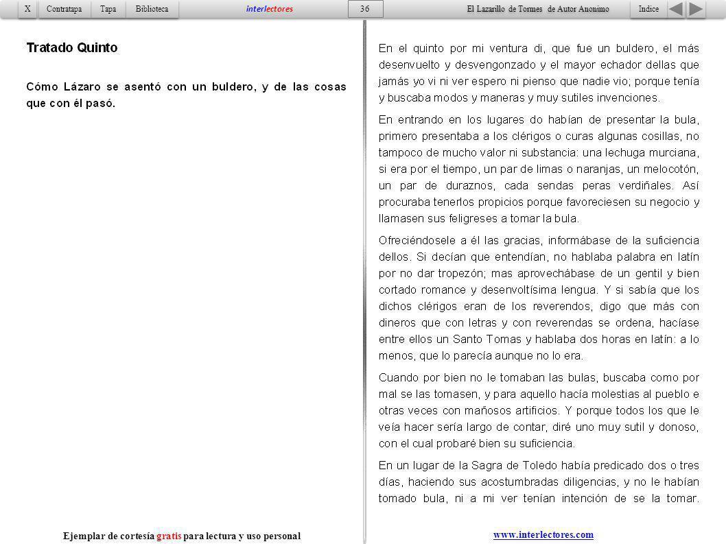 Indice 36 Tapa Contratapa Biblioteca X X interlectores www.interlectores.com El Lazarillo de Tormes de Autor Anonimo Ejemplar de cortesía gratis para