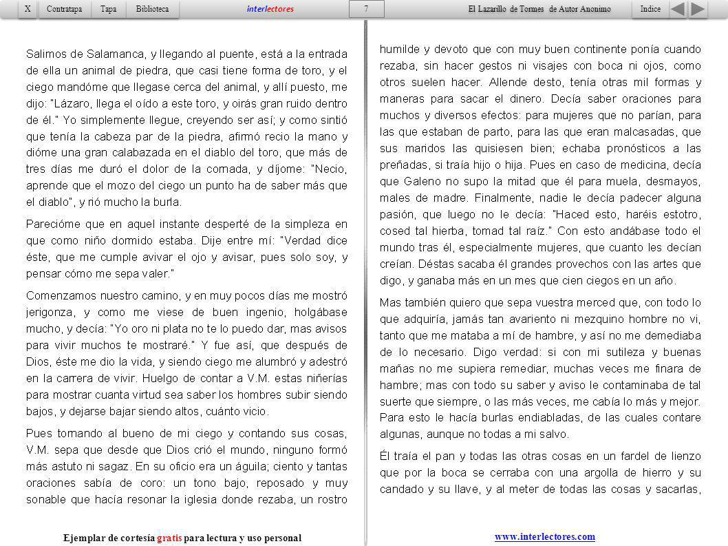 8 Indice Tapa Contratapa Biblioteca X X interlectores www.interlectores.com El Lazarillo de Tormes de Autor Anonimo Ejemplar de cortesía gratis para lectura y uso personal