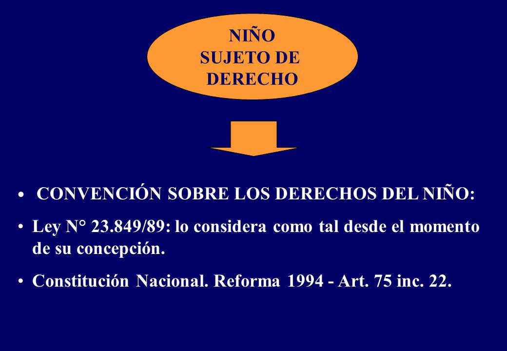 NIÑO SUJETO DE DERECHO CONVENCIÓN SOBRE LOS DERECHOS DEL NIÑO: Ley N° 23.849/89: lo considera como tal desde el momento de su concepción.