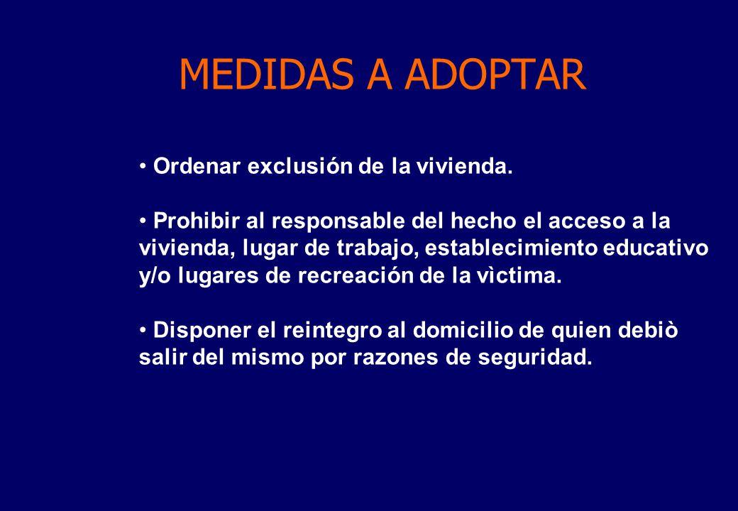 MEDIDAS A ADOPTAR Ordenar exclusión de la vivienda.