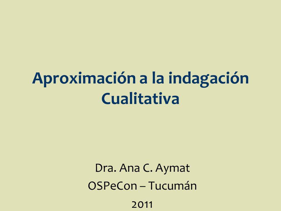 Aproximación a la indagación Cualitativa Dra. Ana C. Aymat OSPeCon – Tucumán 2011
