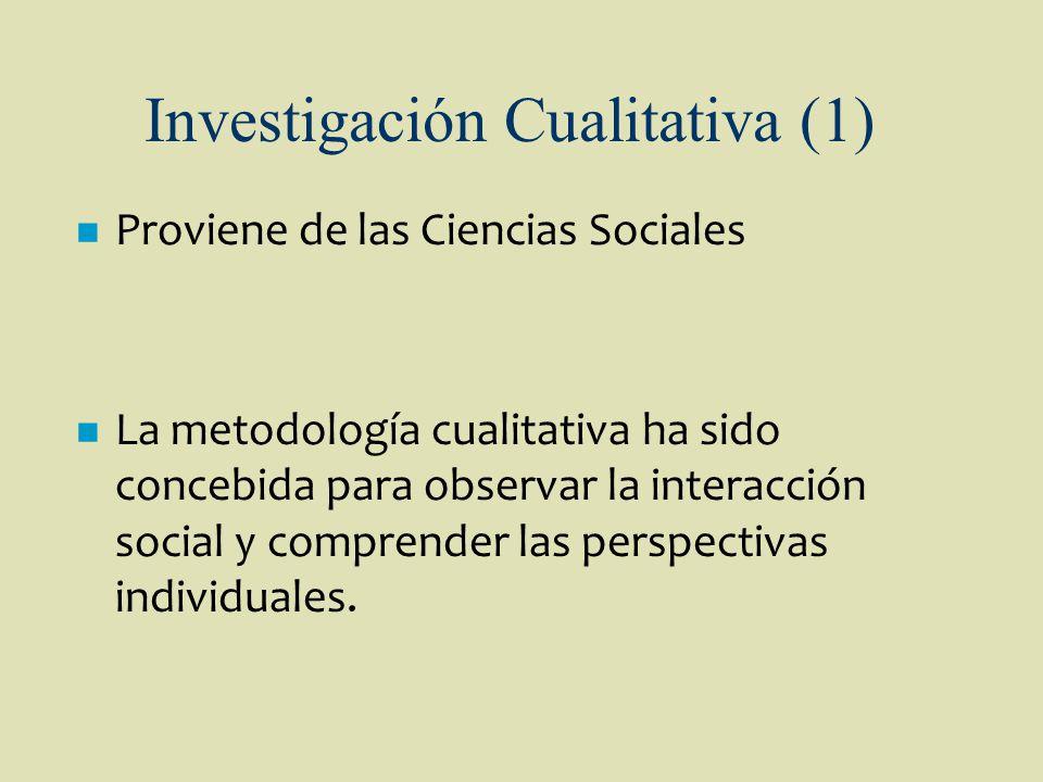 Investigación Cualitativa (1) n Proviene de las Ciencias Sociales n La metodología cualitativa ha sido concebida para observar la interacción social y