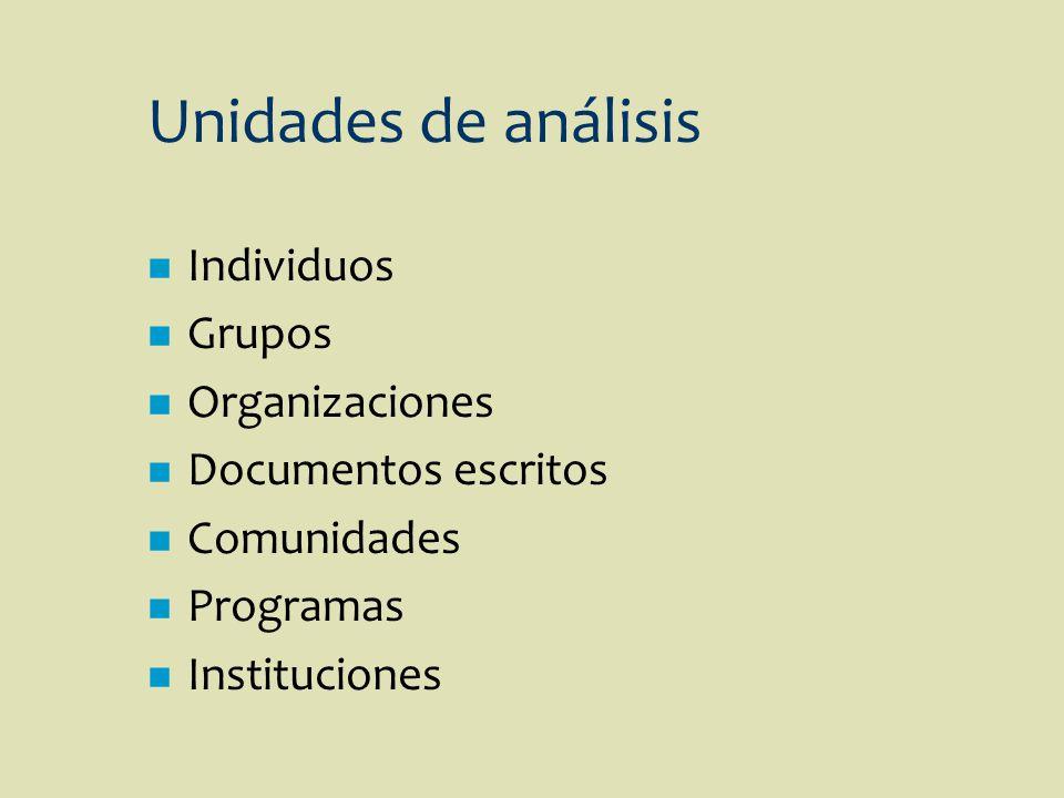 Unidades de análisis n Individuos n Grupos n Organizaciones n Documentos escritos n Comunidades n Programas n Instituciones