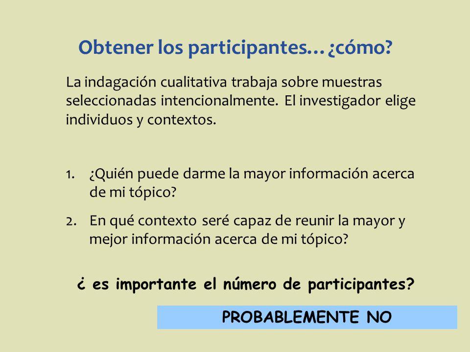 Obtener los participantes…¿cómo? La indagación cualitativa trabaja sobre muestras seleccionadas intencionalmente. El investigador elige individuos y c