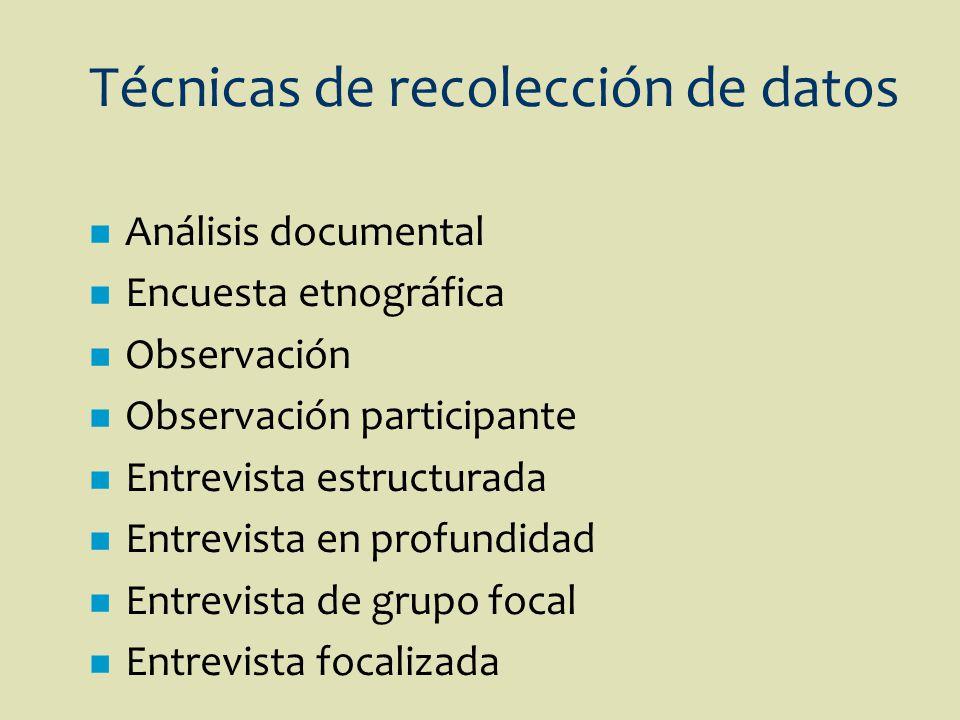 Técnicas de recolección de datos n Análisis documental n Encuesta etnográfica n Observación n Observación participante n Entrevista estructurada n Ent