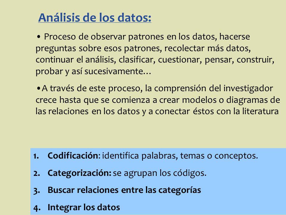 Análisis de los datos: Proceso de observar patrones en los datos, hacerse preguntas sobre esos patrones, recolectar más datos, continuar el análisis,