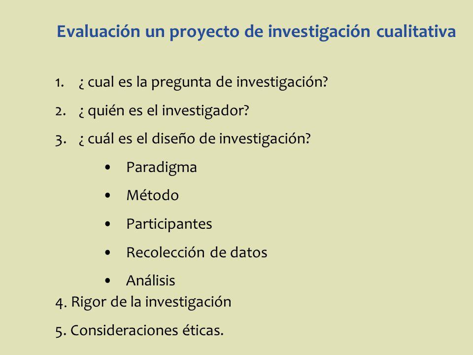 Evaluación un proyecto de investigación cualitativa 1.¿ cual es la pregunta de investigación? 2.¿ quién es el investigador? 3.¿ cuál es el diseño de i