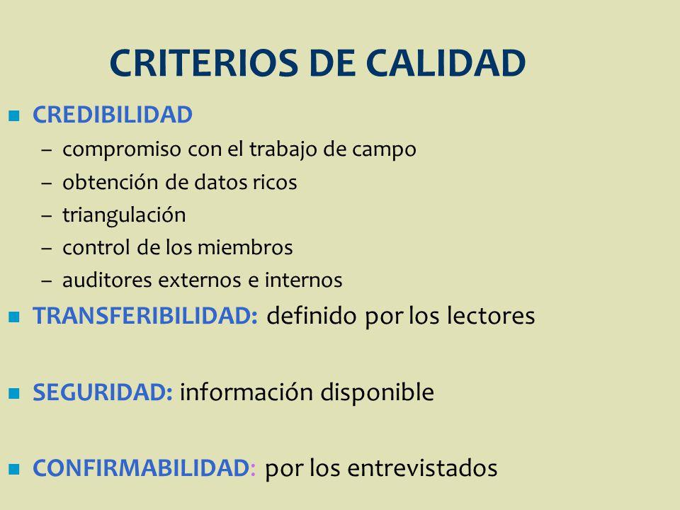 CRITERIOS DE CALIDAD n CREDIBILIDAD –compromiso con el trabajo de campo –obtención de datos ricos –triangulación –control de los miembros –auditores e