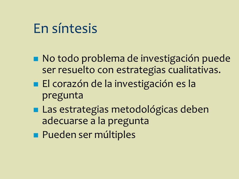 En síntesis n No todo problema de investigación puede ser resuelto con estrategias cualitativas. n El corazón de la investigación es la pregunta n Las