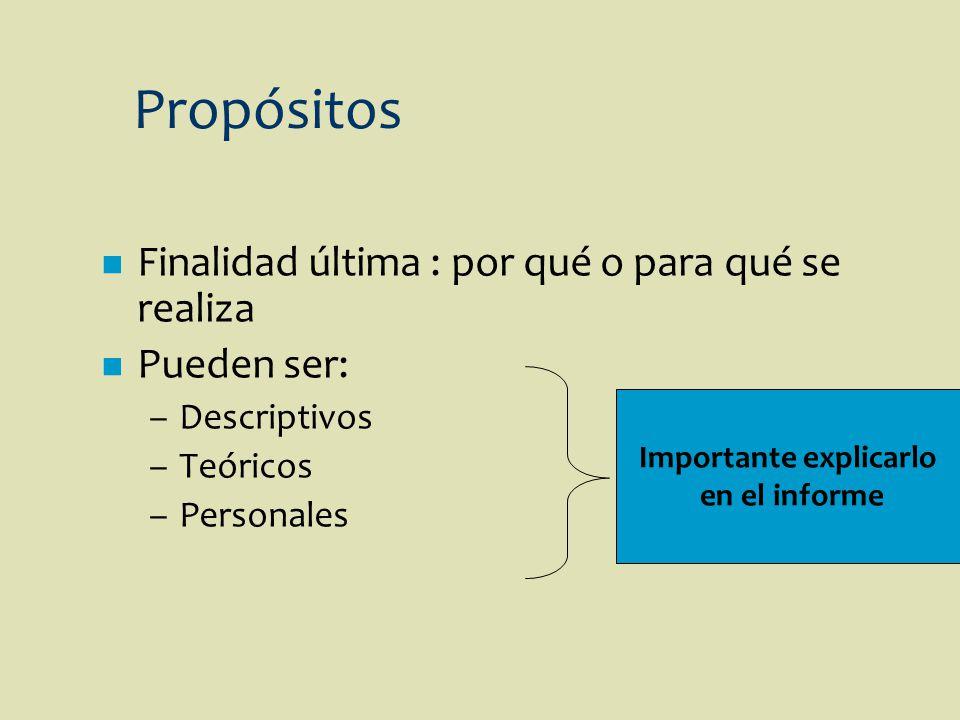 n Finalidad última : por qué o para qué se realiza n Pueden ser: –Descriptivos –Teóricos –Personales Propósitos Importante explicarlo en el informe
