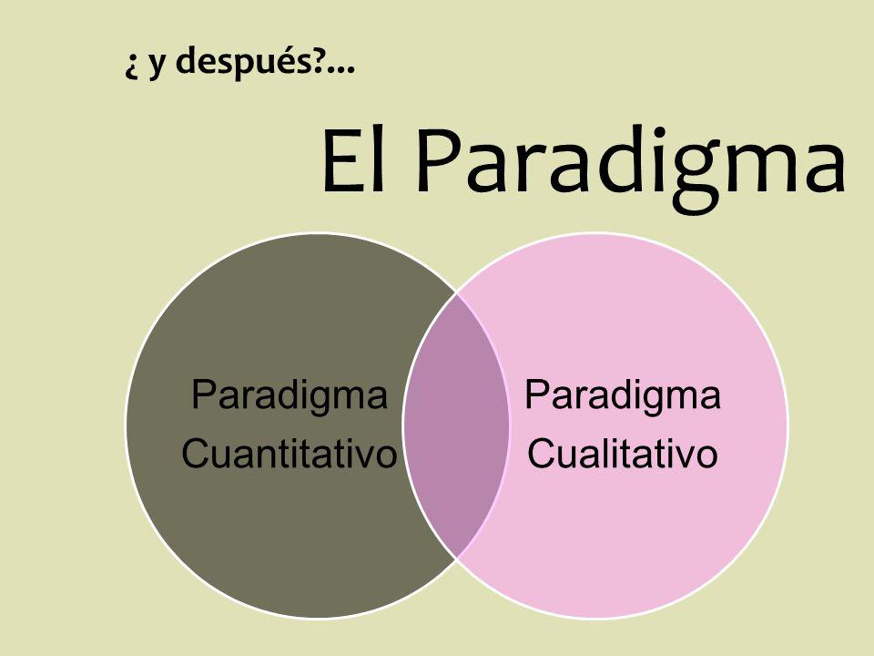 ¿ y después?... Paradigma Cuantitativo Paradigma Cualitativo El Paradigma