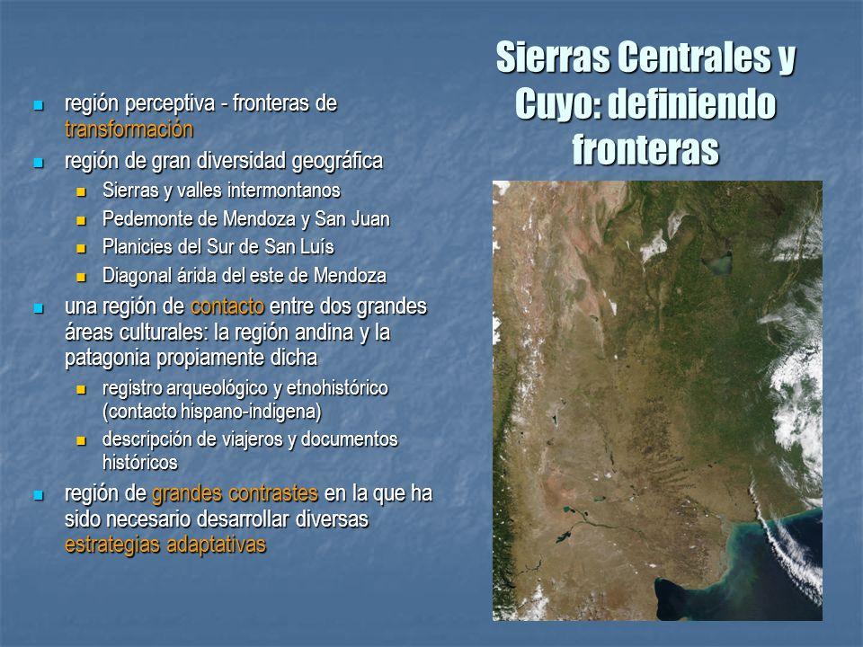 Sierras Centrales y Cuyo: definiendo fronteras región perceptiva - fronteras de transformación región perceptiva - fronteras de transformación región