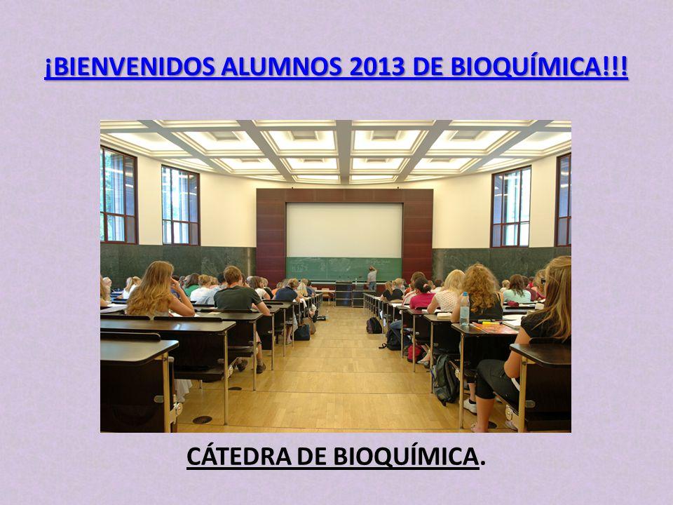 CÁTEDRA DE BIOQUÍMICA. ¡BIENVENIDOS ALUMNOS 2013 DE BIOQUÍMICA!!!
