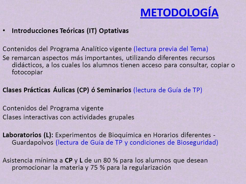 Introducciones Teóricas (IT) Optativas Contenidos del Programa Analítico vigente (lectura previa del Tema) Se remarcan aspectos más importantes, utili