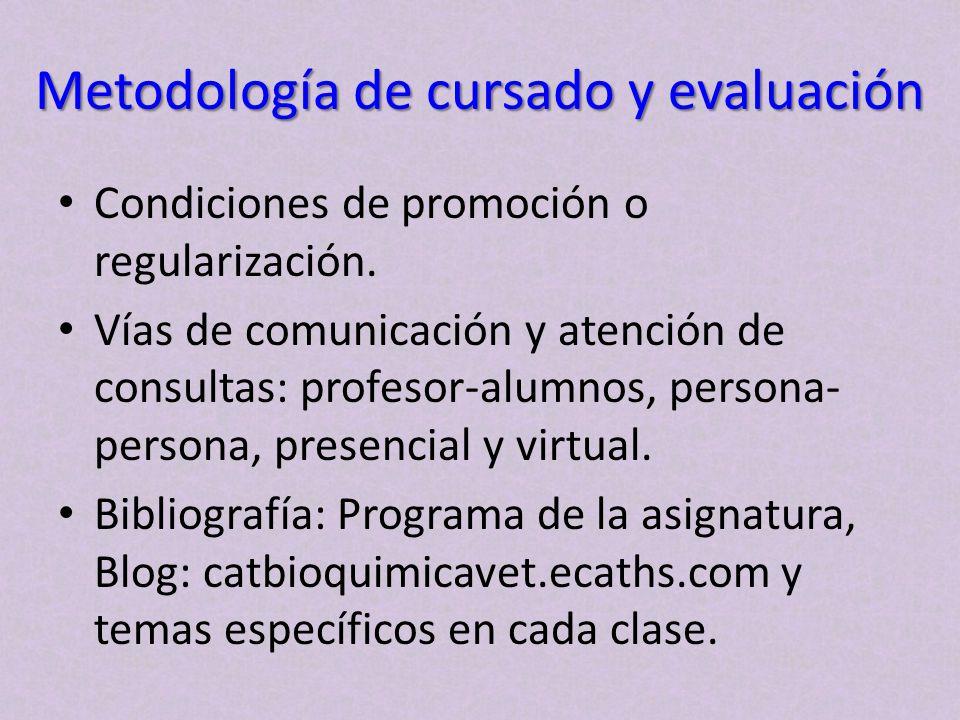 Metodología de cursado y evaluación Condiciones de promoción o regularización. Vías de comunicación y atención de consultas: profesor-alumnos, persona